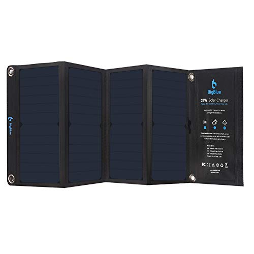 BigBlue 3 USB Ports 28W Solar Charger, 5V Foldable Waterproof Outdoor Solar Battery Charger With SunPower Solar Panel Compatible for iPhone 8/X/7/6s, Samsung Galaxy LG etc.[The Wirecutter's Pick]