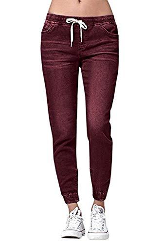 Donna Con Coulisse Vita Winered Elastico Jeans Betrothales Tinta Trousers Pantalone Unita Elasticizzata Pantaloni Casual Jogging wFxqYA