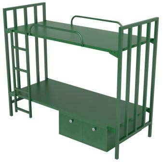Sahay Single Size 2 Tier Metal Bunk Bed With Lockers Glossy