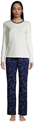 Lands' End Women's Knit Pajama Set Long Sleeve T-Shirt and Pants