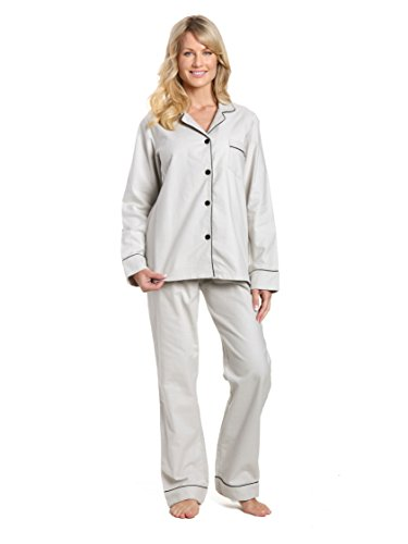 - Noble Mount Women's Cotton Flannel Pajama Set - Light Gray - X-Large