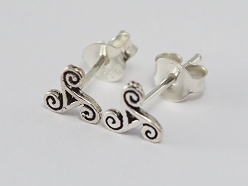 925 Sterling Silver Earring Cartilage For Women Ear Stud Helix Triple Spiral (Dragon Triskele)