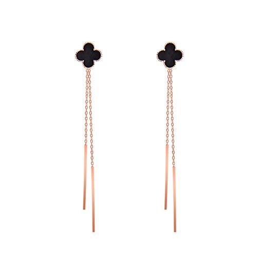 Fashion Long Tassel Lucky Clover Linear Stud Dangle Drop Earrings For Women