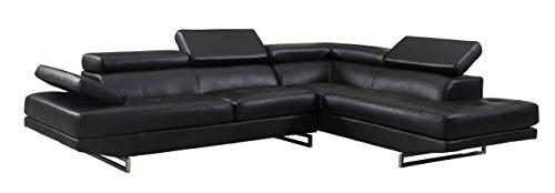 (Blackjack Furniture 8136-BLACK-LAF Sectional Leather Match Left-Facing Sectional, Black , 1 Piece)