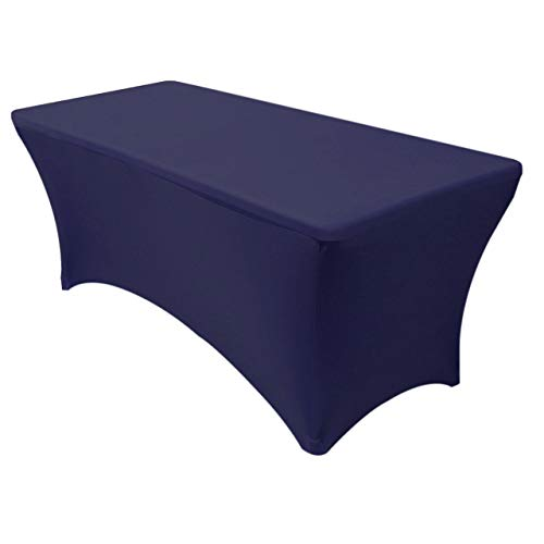 Your Chair Covers - Rectangular Fitted Stretch Spandex Table Cover, Navy Blue, 6' L ()