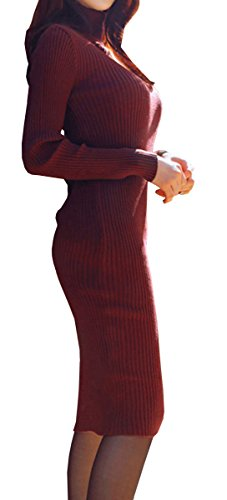 Olrain Womens Slim Fitted Crewneck Knit Sweater Dress (Large, Wine Red)