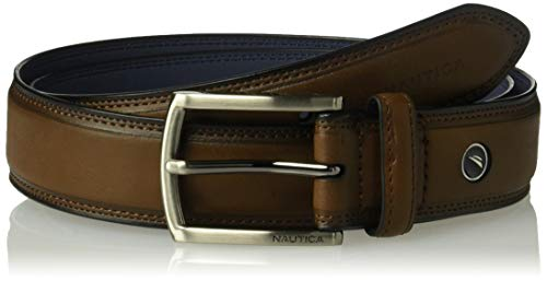 (Nautica Men's Belt with Dress Buckle and Stitch Comfort, Chocolate, 40)