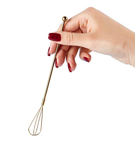 Gold Whisk Swizzle Sticks for Drinks Coffee Beverages Cocktail, Stainless Steel – Set of 4