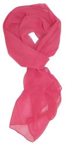 Tanu Collections Silk Blend Oblong Chiffon Scarf in Solid Colors (Hot pink)