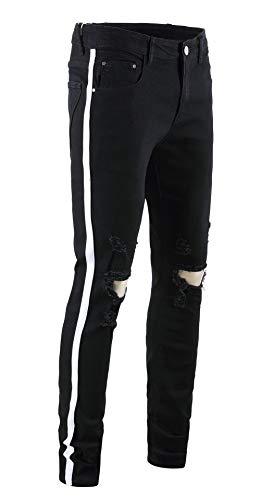 OKilr Pjik Men's Skinny Distressed Ripped Elastic Jeans Casual Side Ribbon Trousers Black - Elastic Side Jean