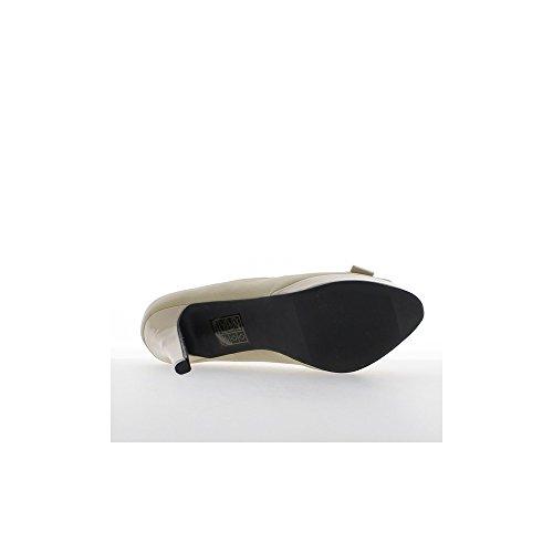 Escarpins ouverts beiges à talons de 10,5cm et plateforme