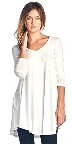 (82 Days Womens Long Sleeve Tunic Top Wear with Leggings Plus Size Made in USA 3X Pearl )