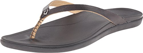 OluKai Ho'opio Leather Sandal - Women's Onyx/Black ()
