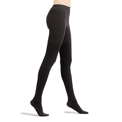 Fytto 2026 Women's Compression Pantyhose, 15-20mmHg Microfiber Support Hosiery, Travel Stockings – Improve Circulation, Relieve Varicose Veins and Pains, Black, Medium 1