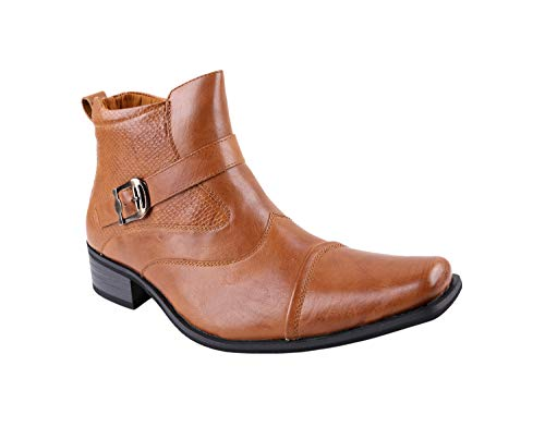 Delli Aldo Men's Gustavo Ankle High Dress Boots | Buckle Strap | Shoes | Light Brown 10.5 (Aldo Boots Short)