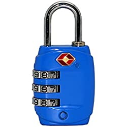 Just Lock Authorized TSA Approved Metal Material Security 3 Combination Travel Suitcase Luggage Bag Code Lock Padlock (Blue)