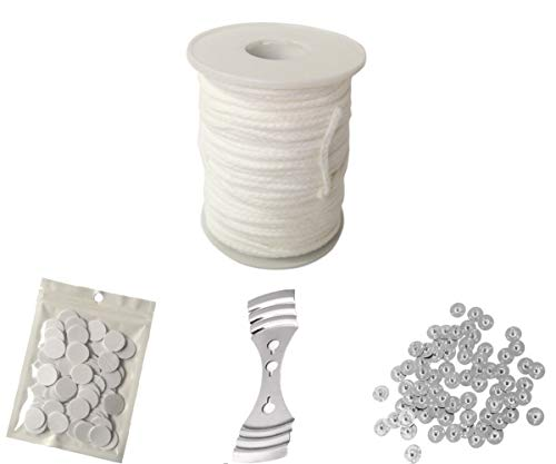 Homankit 24 Ply Braided Wicks 200 Feet Candle Wick for Candle Making with 100 pcs Candle Wick Sustainer Tabs, 100 dots Double-Sided Wick Stickers and 1 Piece Stainless Wick Fixed Holder