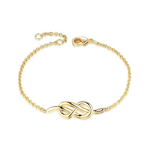 - AGVANA Yellow Gold Filled Infinity Love Knot Bracelet Jewelry for Women Girls 6.3'' + 0.8''