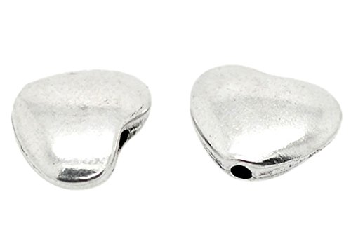 Souarts Antique Silver Color Heart Shape Spacer Beads Pack of 50pcs ()