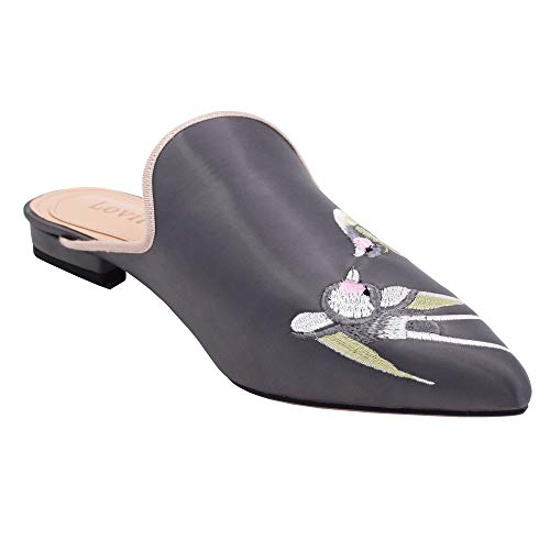 Slip Lovirs On Women's Mule Embroidery Backless Birds Grey Slippers Flats Shoes Loafers Velvet yaO4Wc16OR