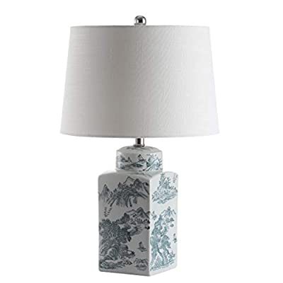 """JONATHAN Y JYL5052A Audrey 24.5"""" Chinoiserie Table Lamp, Blue/White"""