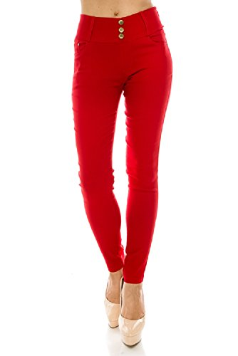 Women's Pull On Stretch Cotton Jegging Tight Pants Red SM - Comfy Cotton Tights