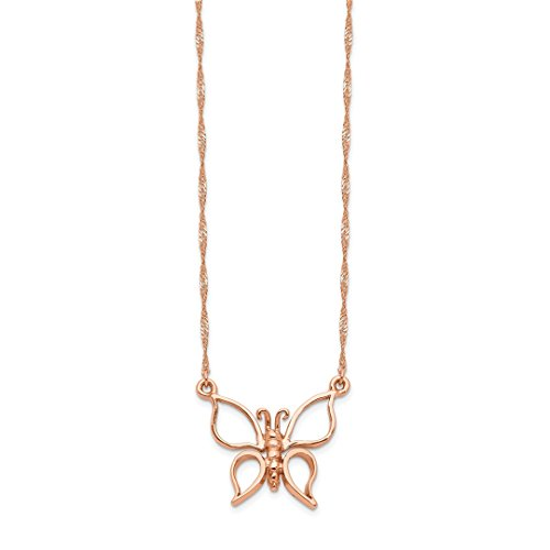 ICE CARATS 14kt Rose Gold Butterfly Chain Necklace Pendant Charm Animals/insect Fine Jewelry Ideal Gifts For Women Gift Set From Heart