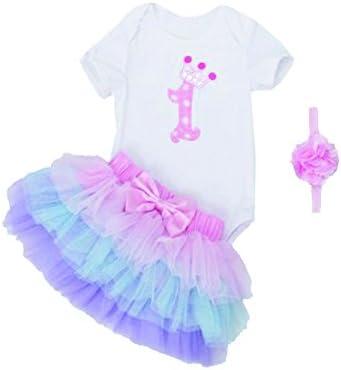 Mayo Naisi Cumpleaños bebé niña 3 piezas romper + Ballet falda + Cinta Vestido de Fiesta, 0 - 24 Meses C1 Talla:XL(9-18 Monate)