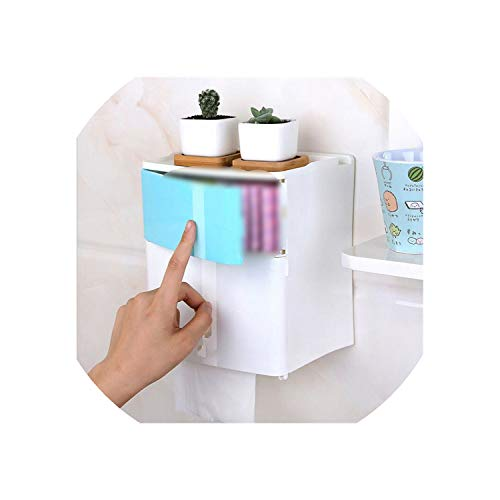 2 Layer Bathroom Storage Box Toilet Paper Sanitary Napkin Storage Holder Wall Mounted Shelves for Shower Gel -