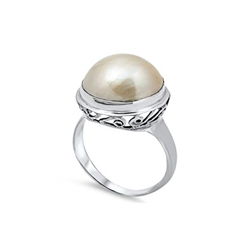 Noureda Sterling Silver Round Brown Mabe Pearl with Fancy Vine Design Ring, Face Height of 18MM Round Mabe Pearl