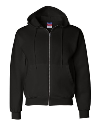 Champion Mens Double Dry Action Fleece Full Zip Hood Black