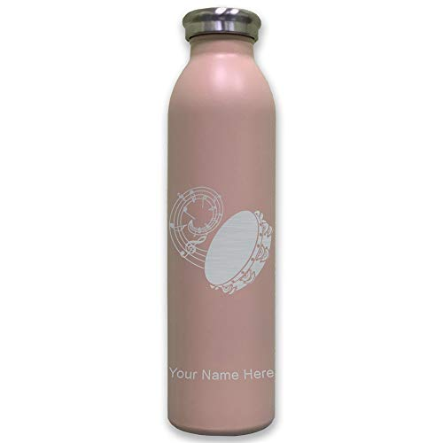 Lasergram Sports Water Bottle, Tambourine, Personalized Engraving Included (Pink)