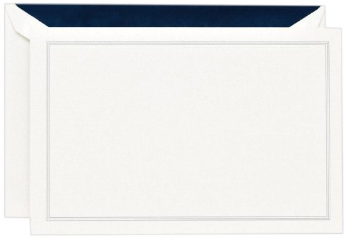 Crane & Co. Navy Blue Triple Hairline Correspondence Card (CC3314)