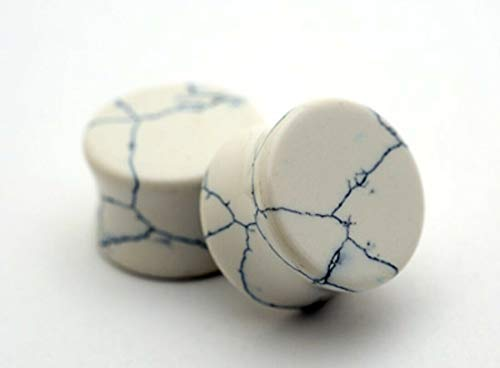 Pair of Double Flare Stone Plugs (Howlite, 3/4