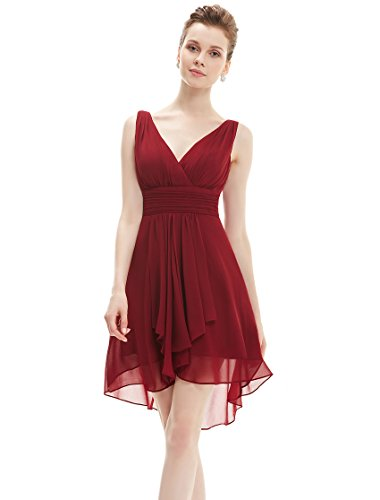 Ever Pretty Womens Sleeveless Chiffon Wedding Guest Dress 8 US Burgundy