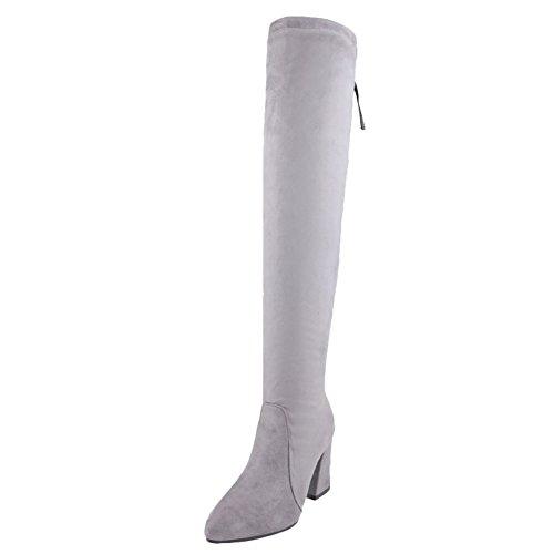 Latasa Womens Elastic Pointed-toe High Heel Tall Boots Gray 2xBaH8ymzS