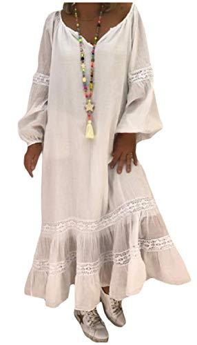 Coolred-femmes Grand Pendule Manches Lâche Longues Robes De Flouncing V Cou Blanc