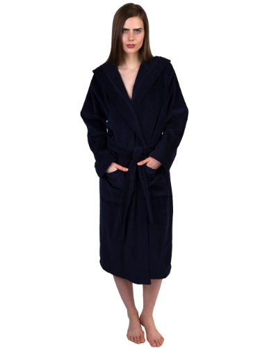 n's Robe, Hooded Terry Velour Cotton Bathrobe Large/X-Large Navy ()
