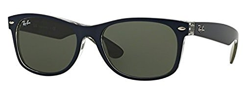 Ray-Ban New Wayfarer RB 2132 Sunglasses Matte Blue / Military Green / Green 52mm & HDO Cleaning Carekit - Ban Ray Military Sunglasses