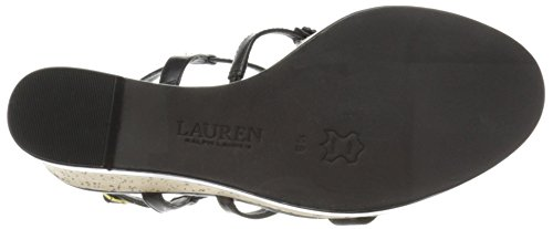 Lauren Ralph Lauren Women's Mattie Wedge Sandal, Black Kidskin, 10 B US