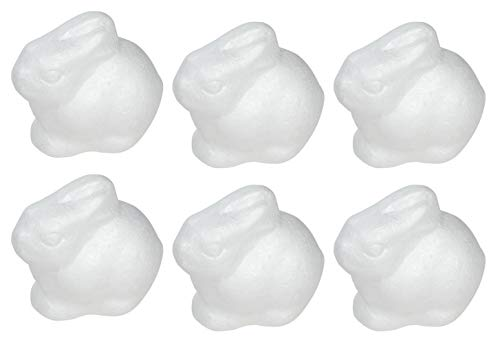 Craft Foam - 6-Count Rabbit Shaped Foam Sculpture, Polystyrene Foam Shapes for Craft, Craft Supplies for DIY Arts and Crafts Projects, Easter Decorations, Kids Art Class, 4.5 x 4 x 3 Inches from Genie Crafts