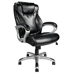 Realspace(R) EC620 Executive High-Back Chair, Black/Silver by TUL
