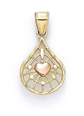 14 carats-Bicolore-JewelryWeb Web pendentif en forme de cœur
