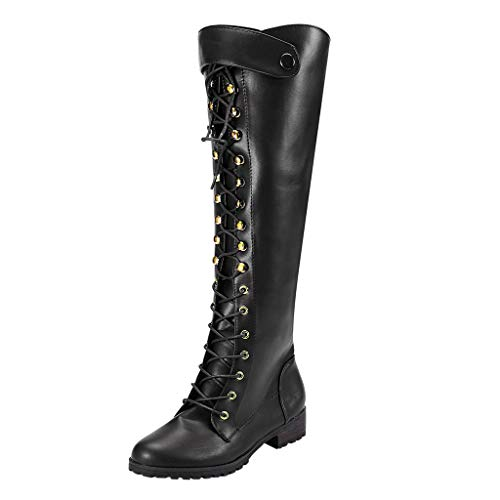 COPPEN Women Boots Knee High Motorcycle Lace-Up Shoes Gladiator Long Tube