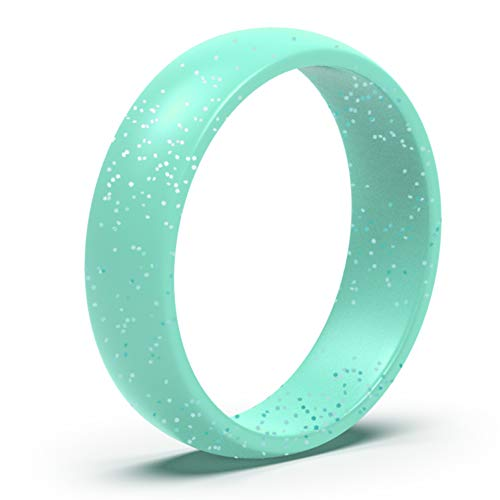 Wooany Silicone Wedding Ring for Women - Thin and Stackable Silicone Ring - Confortable and Skin Safe Rubber Wedding Bands for Women&Kids - Designed for U.S