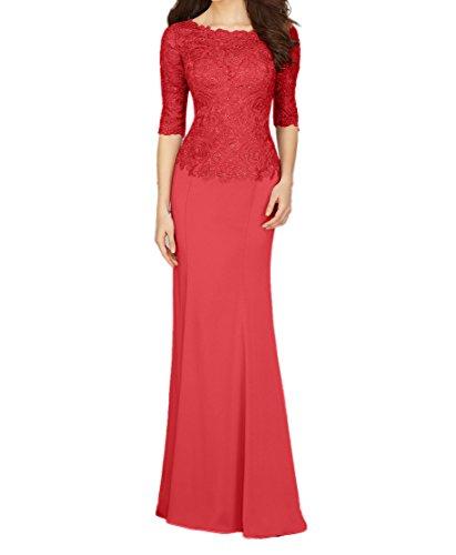 Braut Blau Elegant Langarm Abendkleider Partykleider Ballkleider mit mia Rot Dunkel Lang Brautmutterkleider Promkleider La Twx5Iq