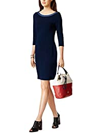 Ladies Nautical Scoop Neck 3/4 Sleeve Jersey Dress