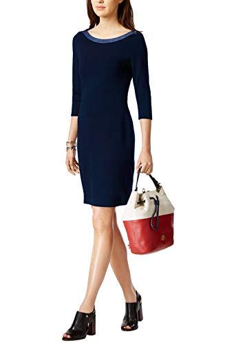 Hilfiger 3/4 Sleeve Tommy - Tommy Hilfiger Ladies Nautical Scoop Neck 3/4 Sleeve Jersey Dress (Navy Blue, Medium)