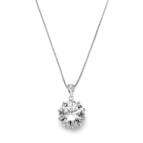 - Mariell Dramatic 5 Ct. ½ Round-Cut CZ Solitaire Pendant Necklace - Bold Brides or Bridesmaids Jewelry