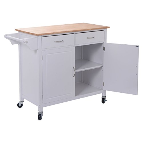 Giantex Portable Kitchen Rolling Cart Wood Top Island Serving Utility W Cabinet Drawer White